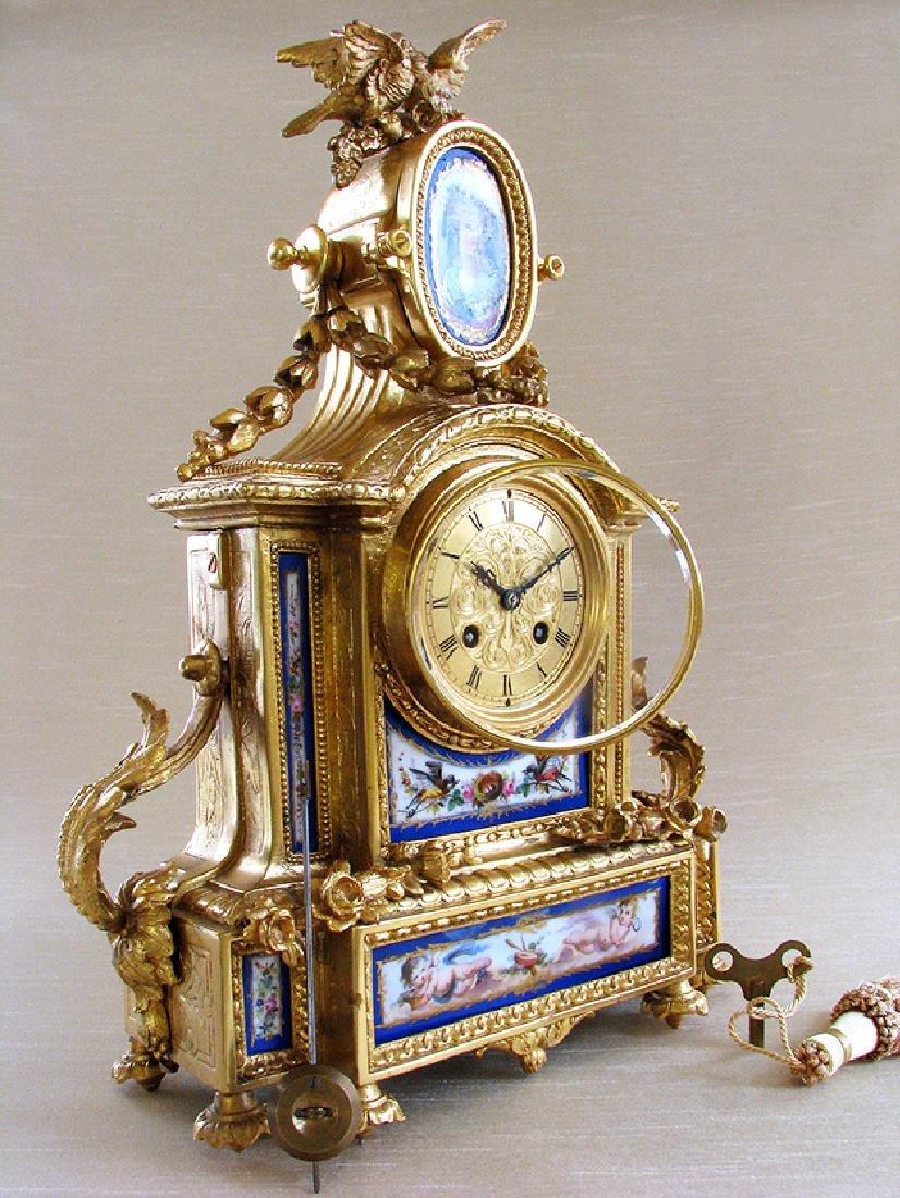 Antique Gilt Ormolu and Sevres Clock - 2