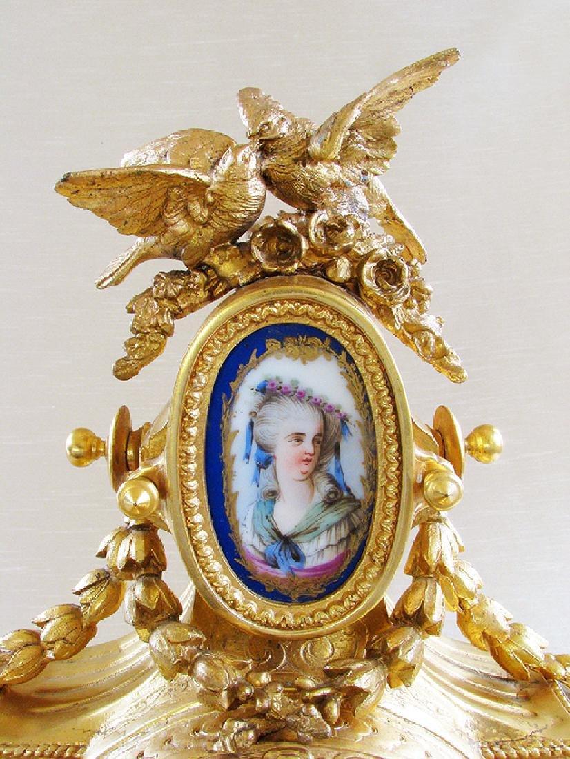 Antique Gilt Ormolu and Sevres Clock - 4