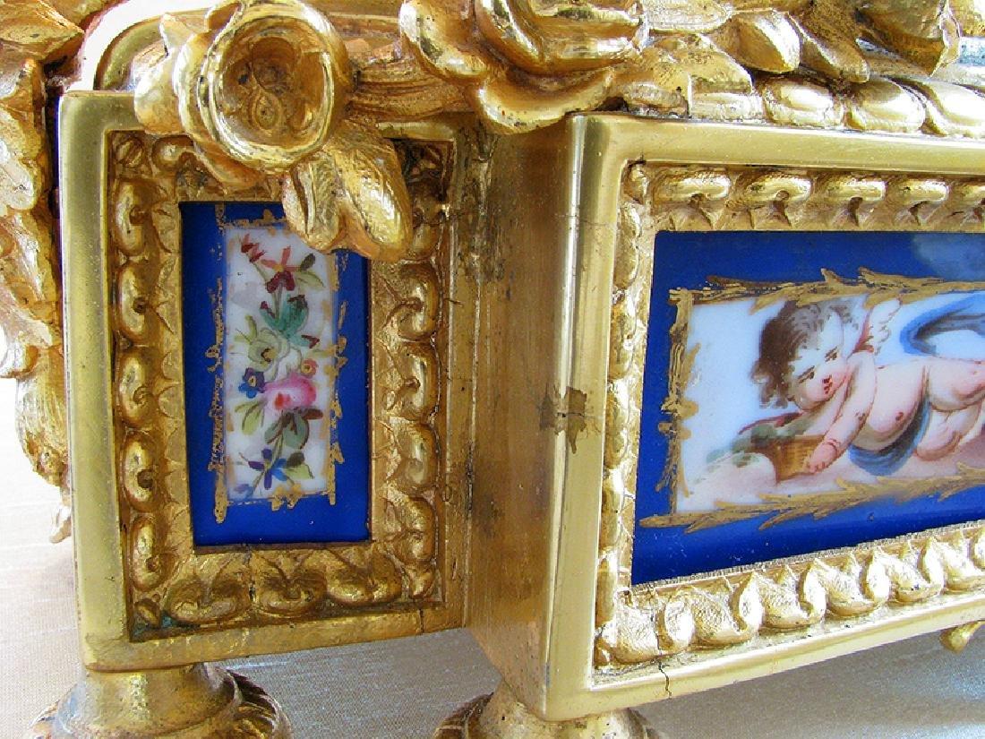 Antique Gilt Ormolu and Sevres Clock - 9
