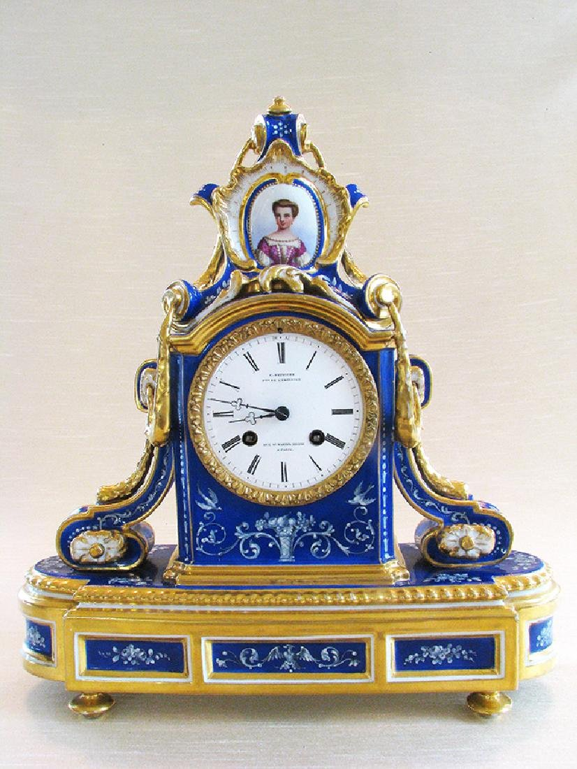 Very Fine French Porcelain Clock, Circa 1860