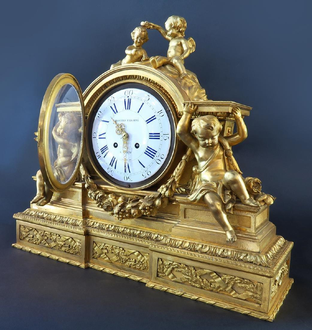 "Fine Large ""Henri Picard"" Figural Bronze Clock - 2"