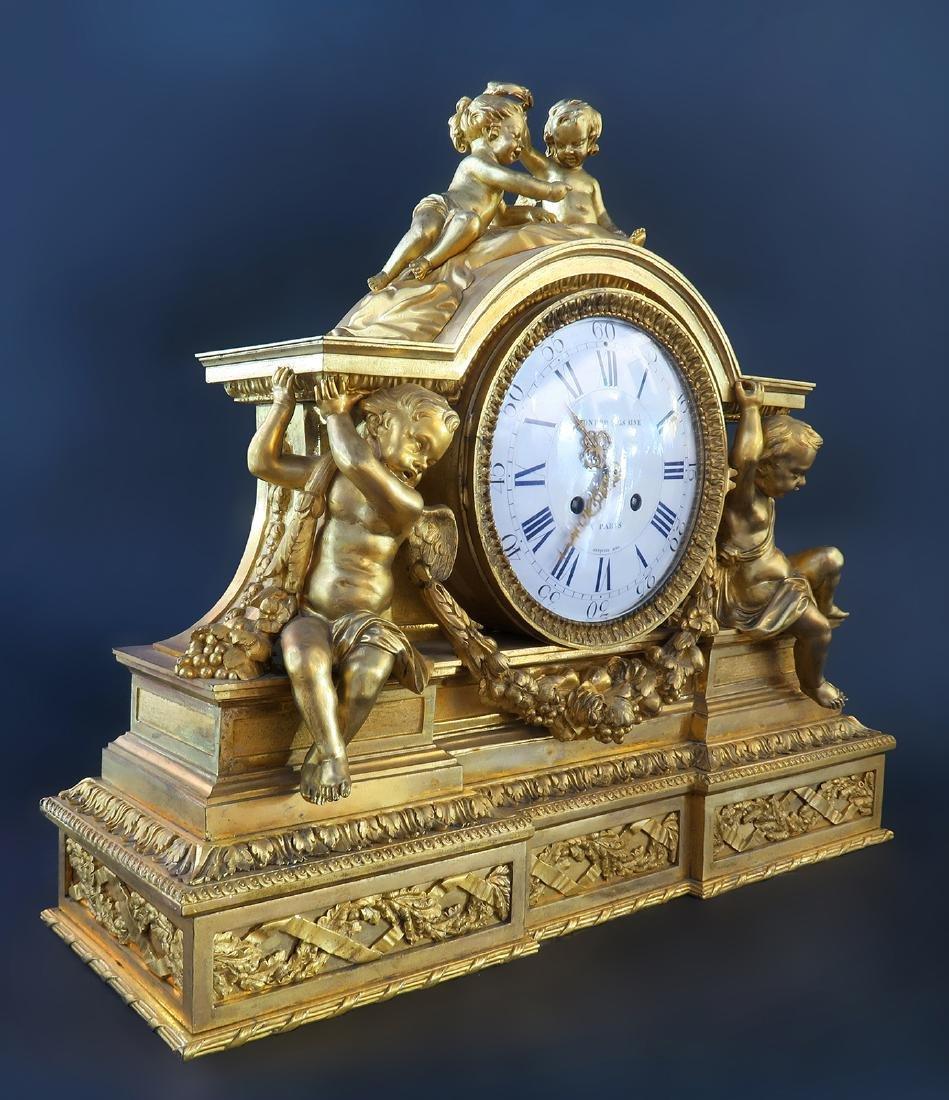 "Fine Large ""Henri Picard"" Figural Bronze Clock - 3"