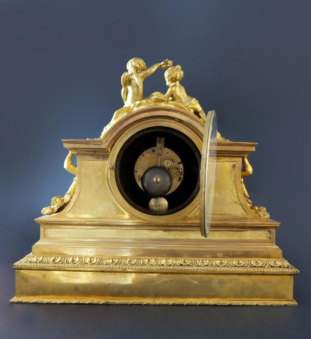 "Fine Large ""Henri Picard"" Figural Bronze Clock - 4"