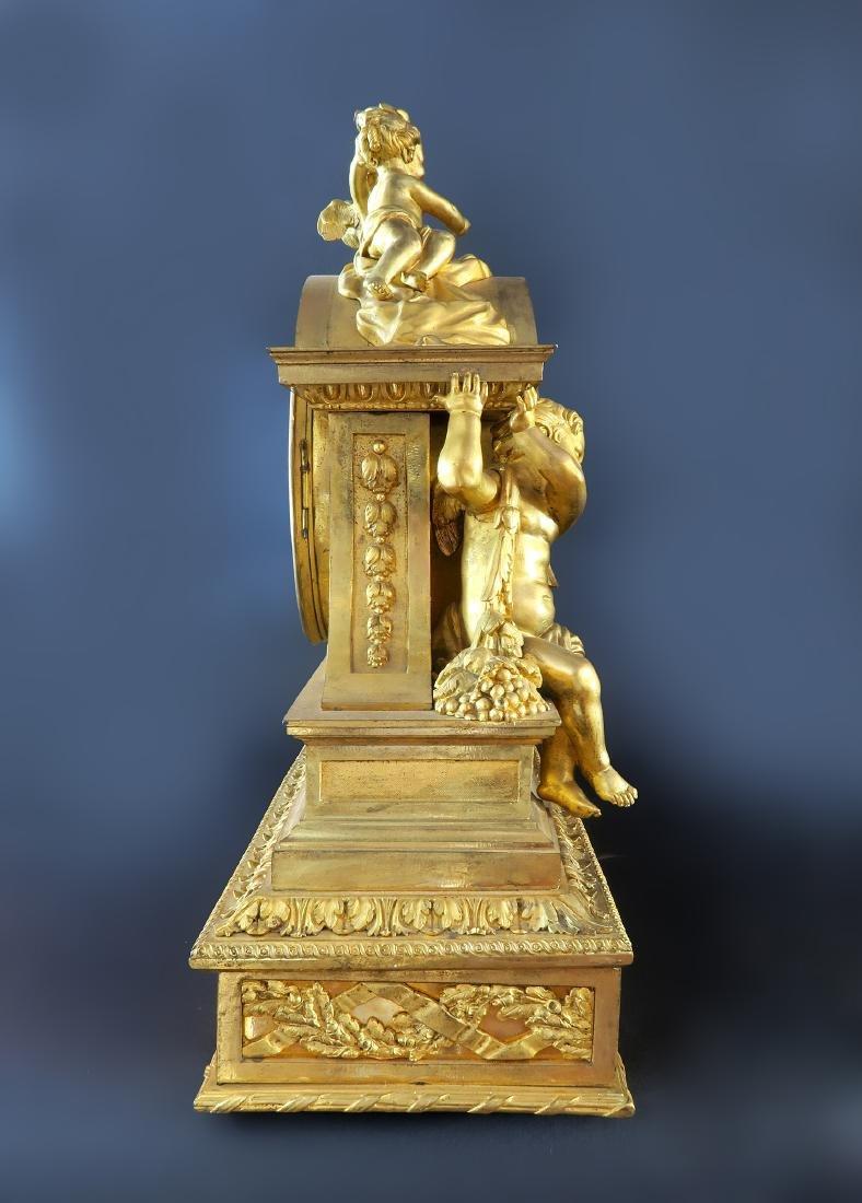 "Fine Large ""Henri Picard"" Figural Bronze Clock - 5"
