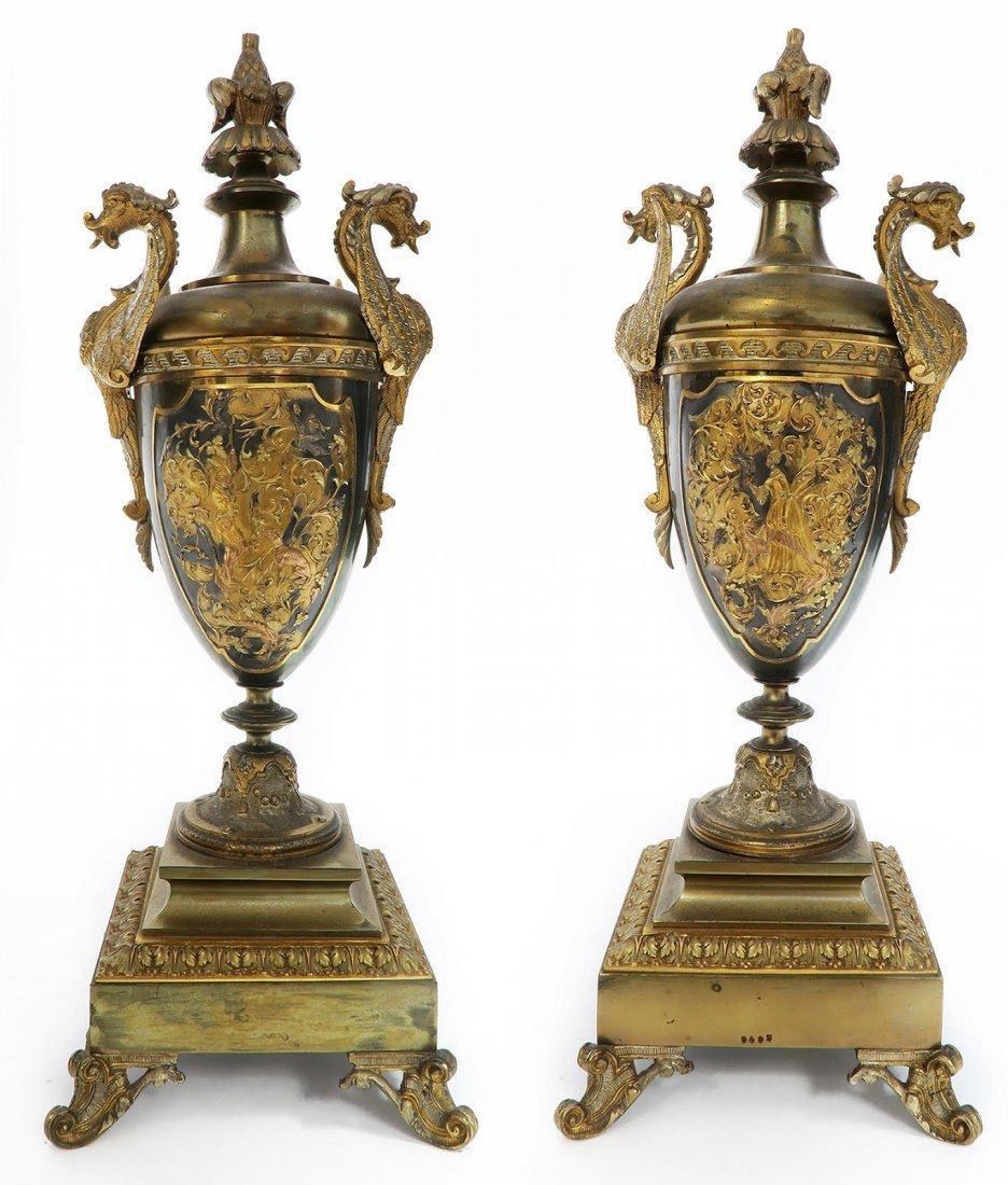 French Bronze Figural Mantle Clock Set - 8