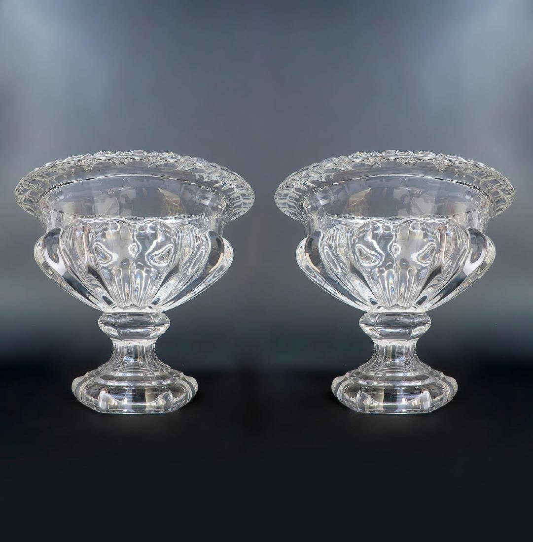 Pair of French Baccarat Crystal Vases / Bowls