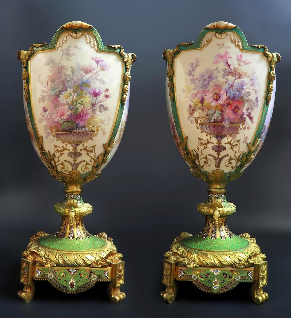 Monumental Sevres Bronze & Champleve Enamel Vases - 2