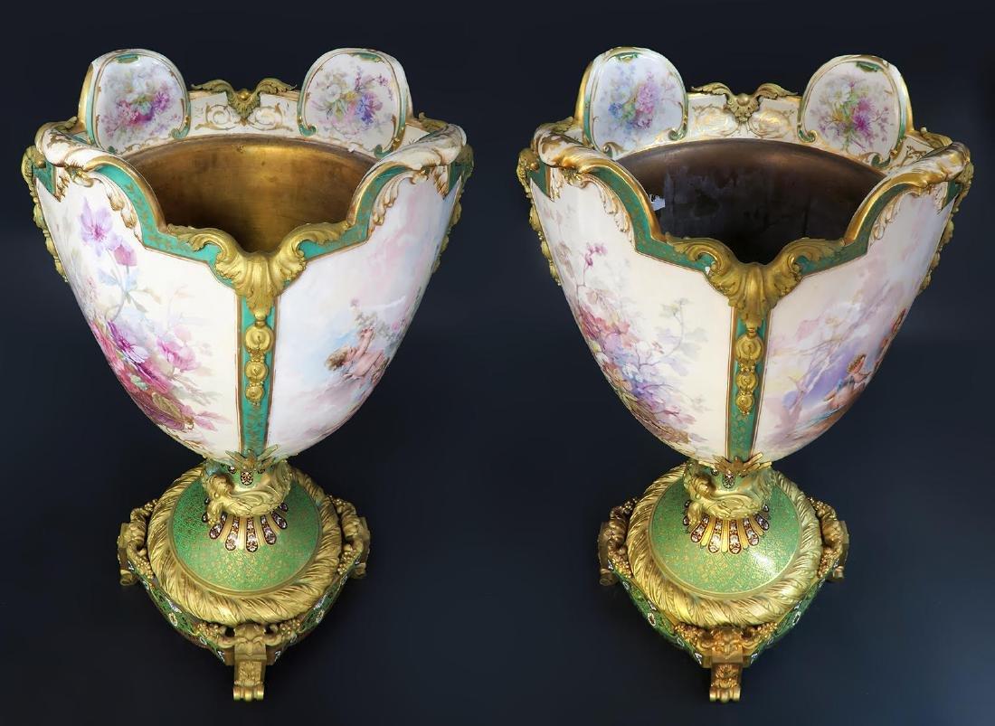 Monumental Sevres Bronze & Champleve Enamel Vases - 5