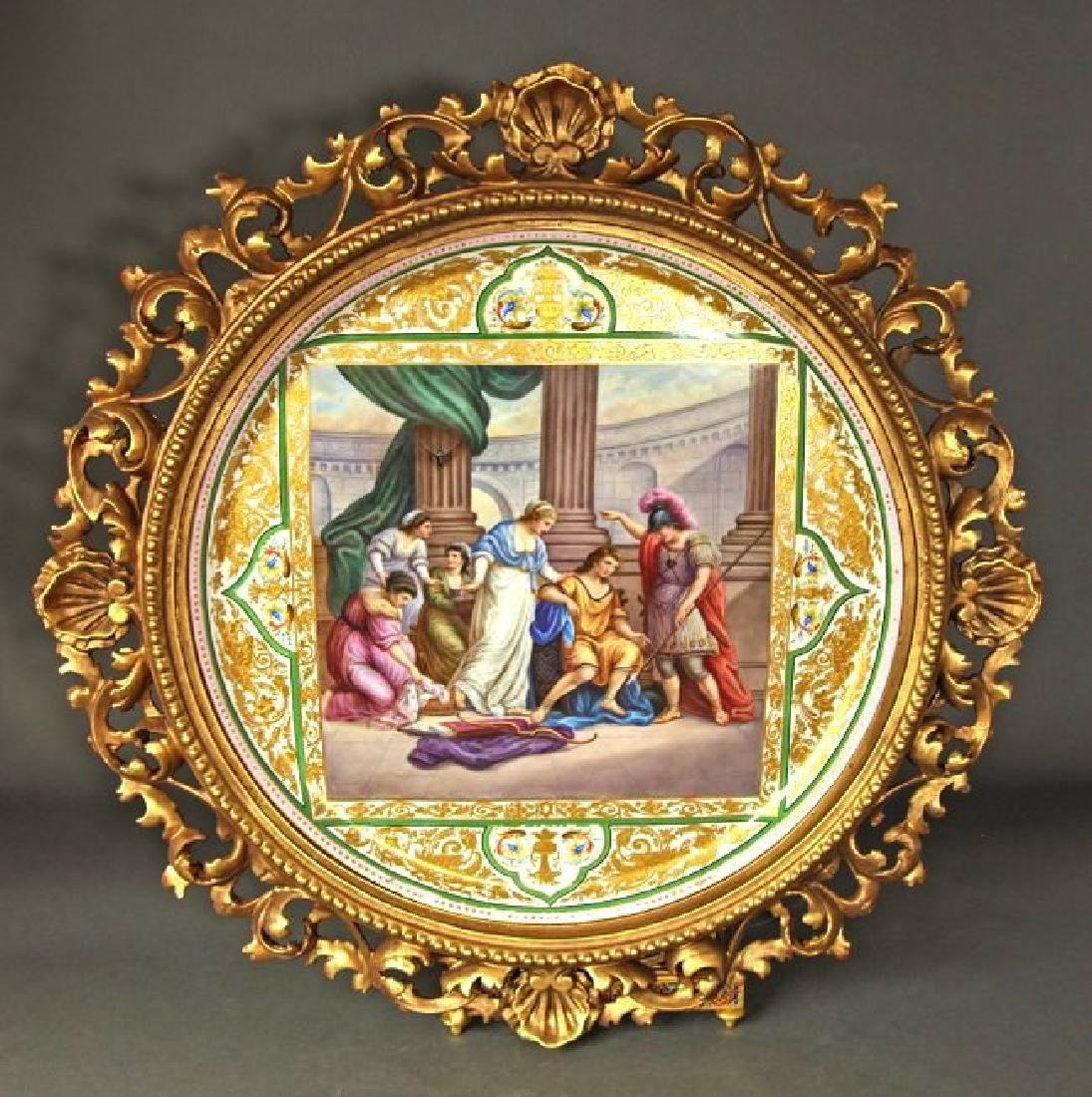 """Monumental Framed Royal Vienna Charger 19 5/8"""""""