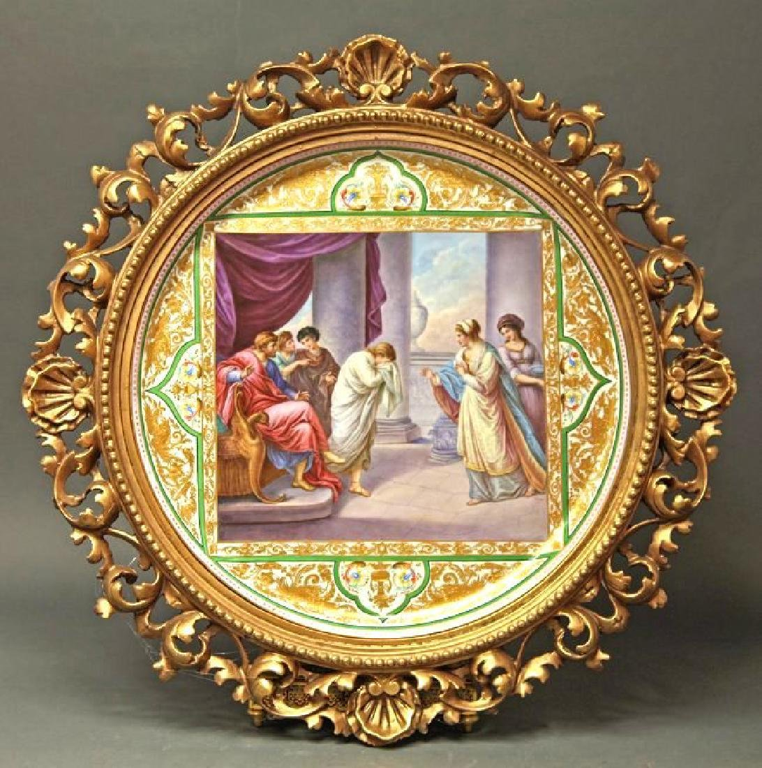 Monumental Framed Royal Vienna Charger 19 5/8""