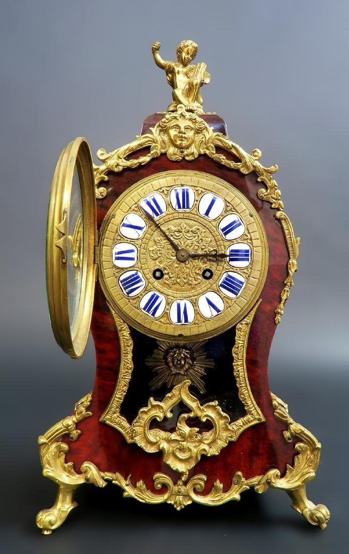 19TH CENTURY TORTOISESHELL LOUIS XV STYLE MANTEL CLOCK - 4