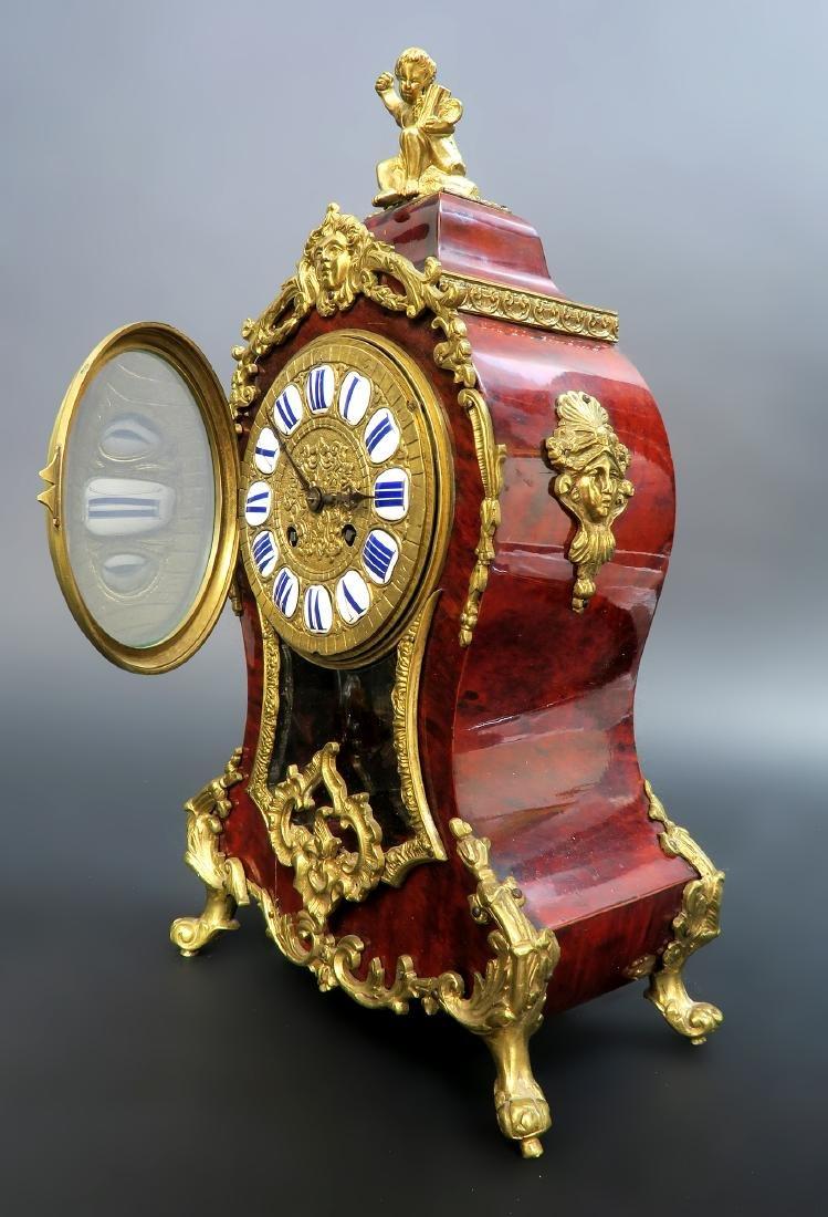 19TH CENTURY TORTOISESHELL LOUIS XV STYLE MANTEL CLOCK - 5