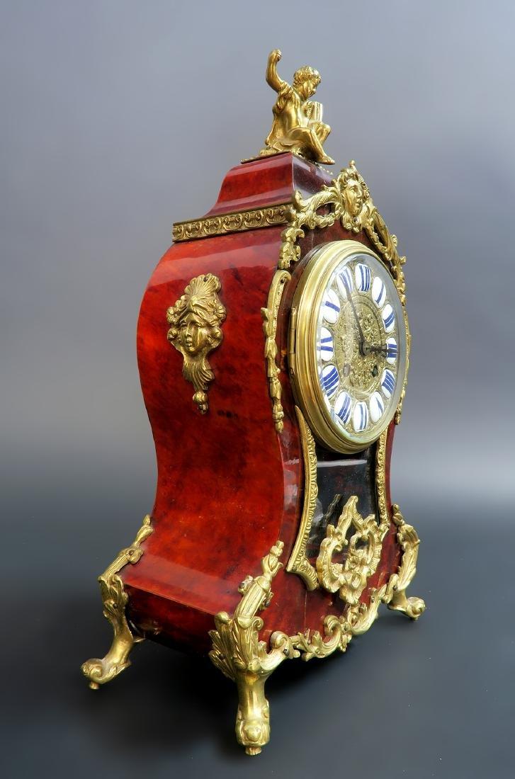 19TH CENTURY TORTOISESHELL LOUIS XV STYLE MANTEL CLOCK - 6