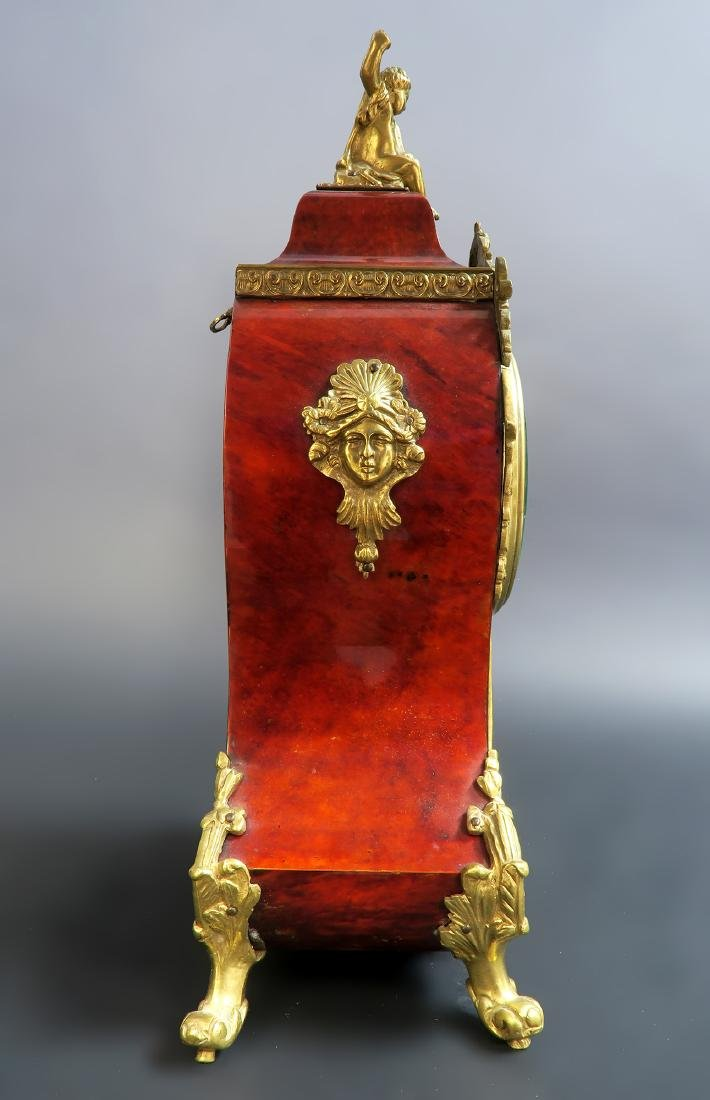 19TH CENTURY TORTOISESHELL LOUIS XV STYLE MANTEL CLOCK - 7