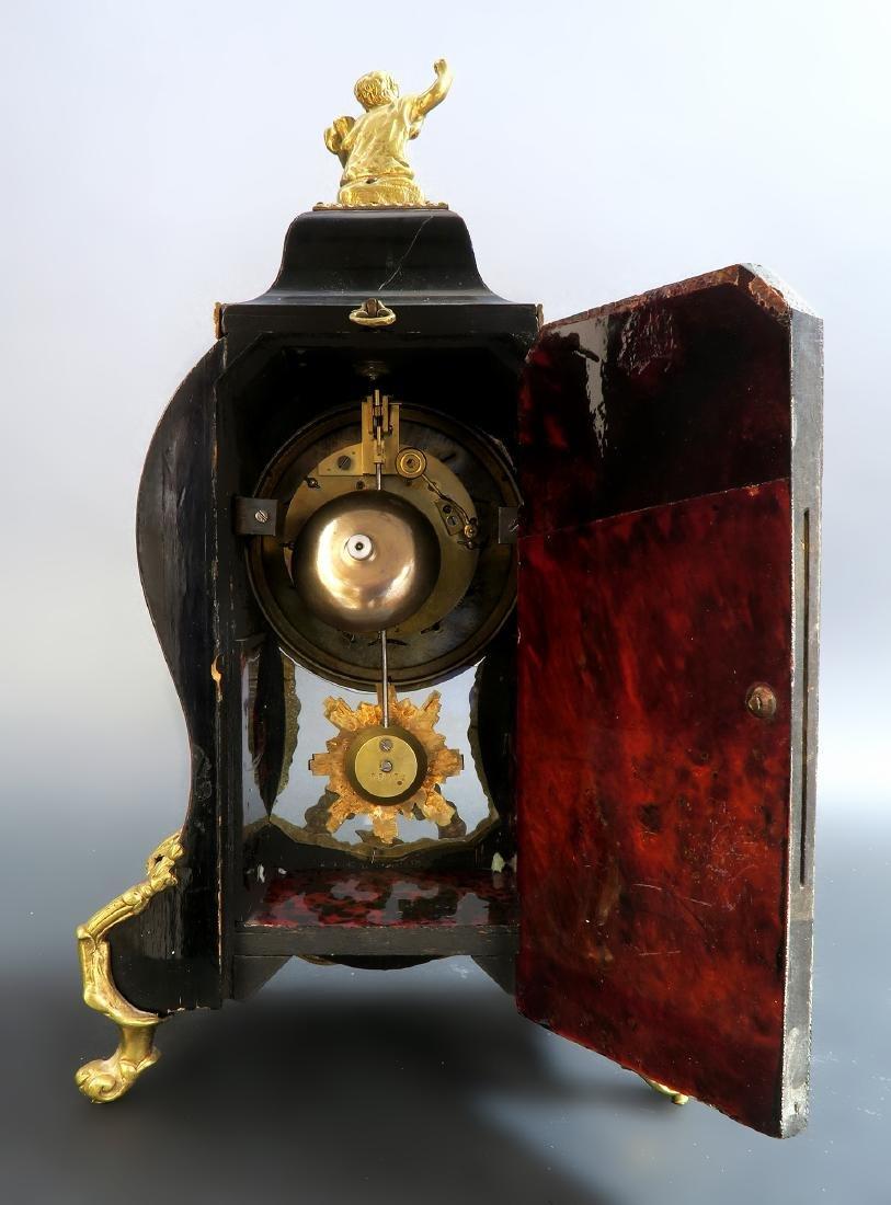 19TH CENTURY TORTOISESHELL LOUIS XV STYLE MANTEL CLOCK - 8