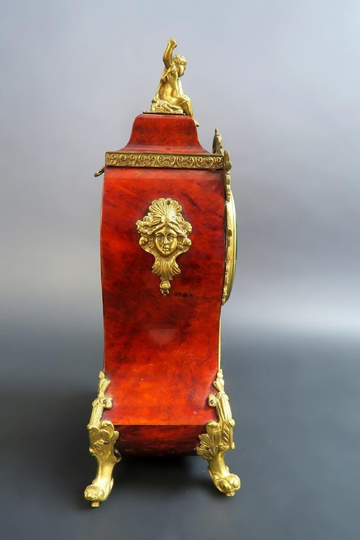 19TH CENTURY TORTOISESHELL LOUIS XV STYLE MANTEL CLOCK - 9
