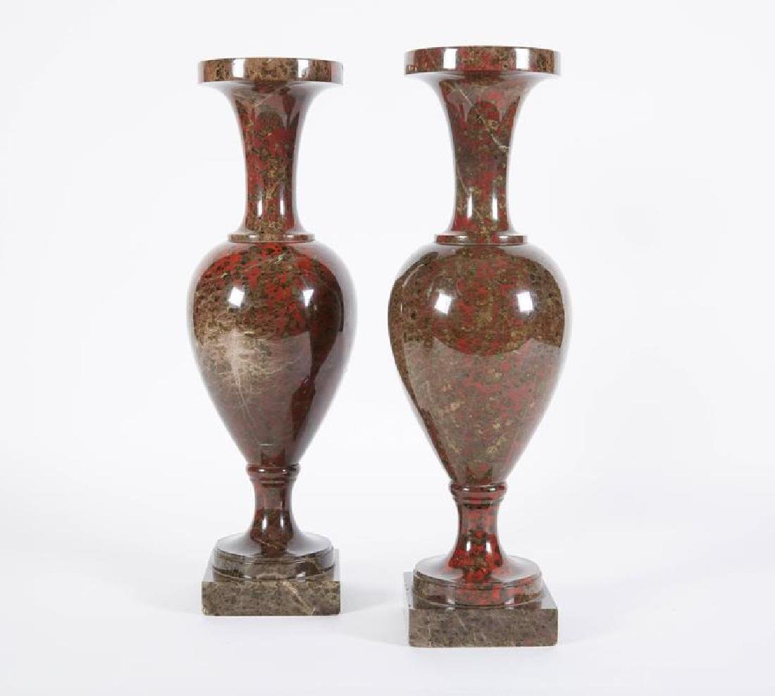 19th C. A Pair Of Neoclassical Jasper Vases - 3