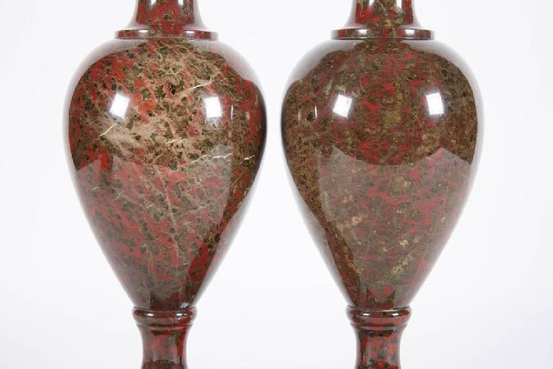 19th C. A Pair Of Neoclassical Jasper Vases - 5