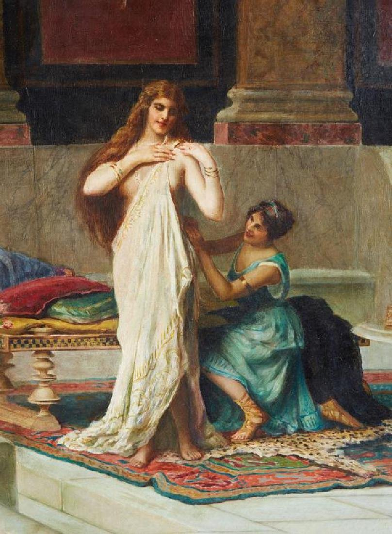 "Guglielmo Zocchi ""Harem Scene"" Orientalist Oil Painting - 2"