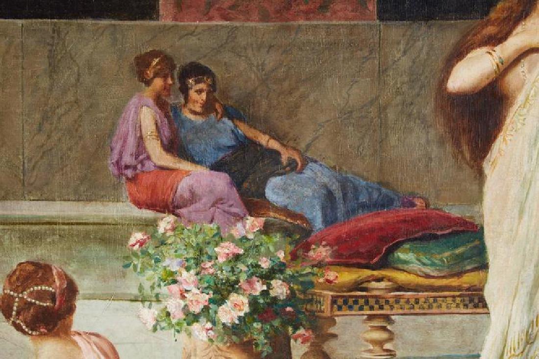 "Guglielmo Zocchi ""Harem Scene"" Orientalist Oil Painting - 3"