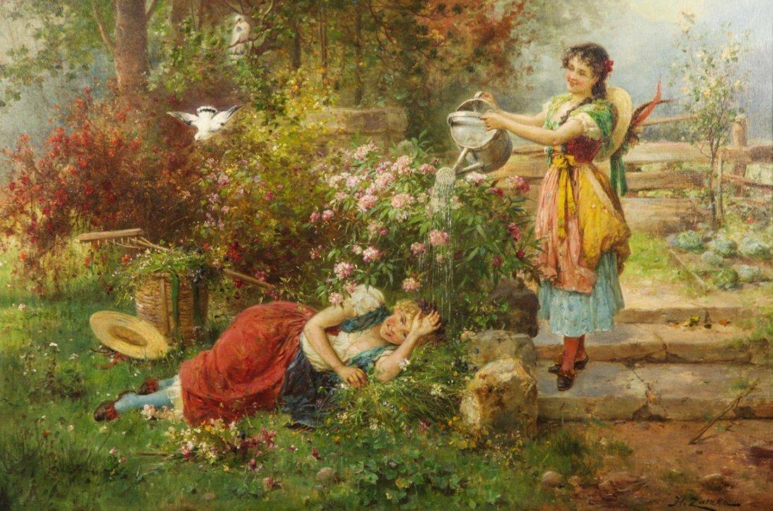"Hans Zatzka ""Maidens in garden"" (Austrian, circa- 1910) - 2"