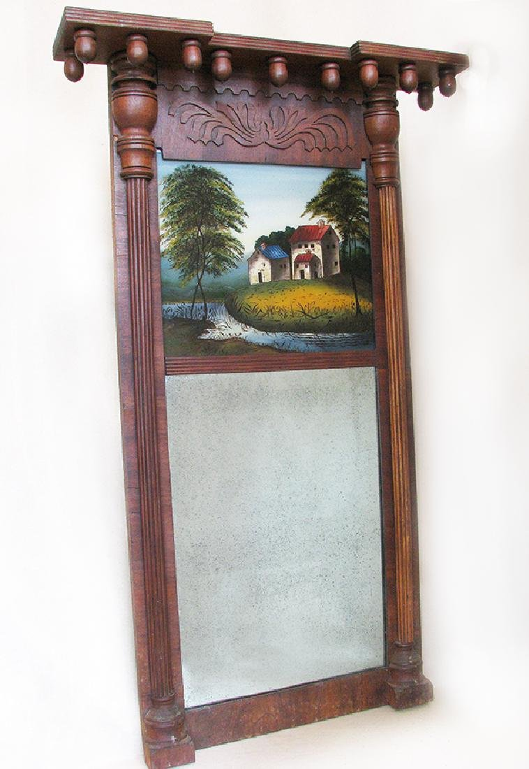 19th C. Eglomise Reverse Painted Mirror