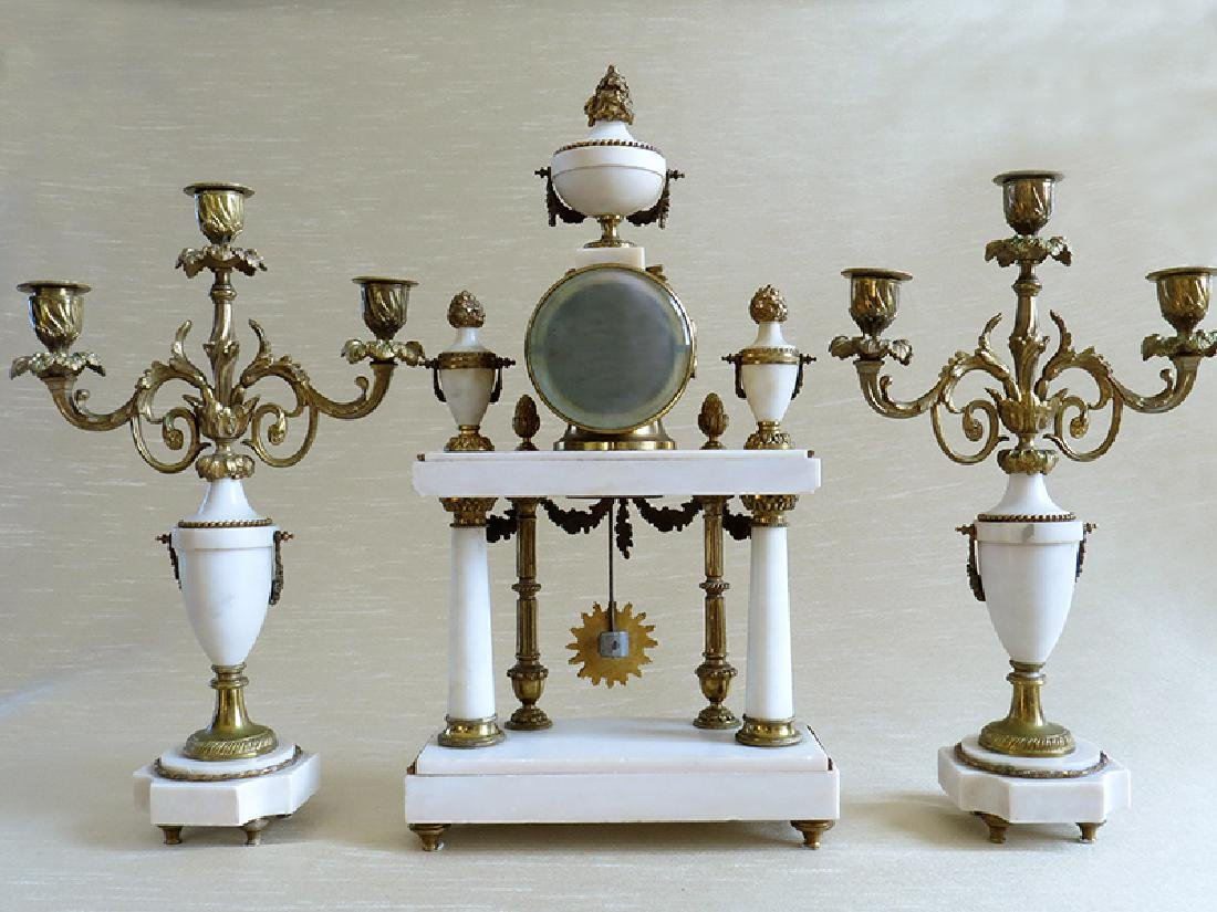 1870 Antique French Bronze & Marble 3pcs clock set - 2
