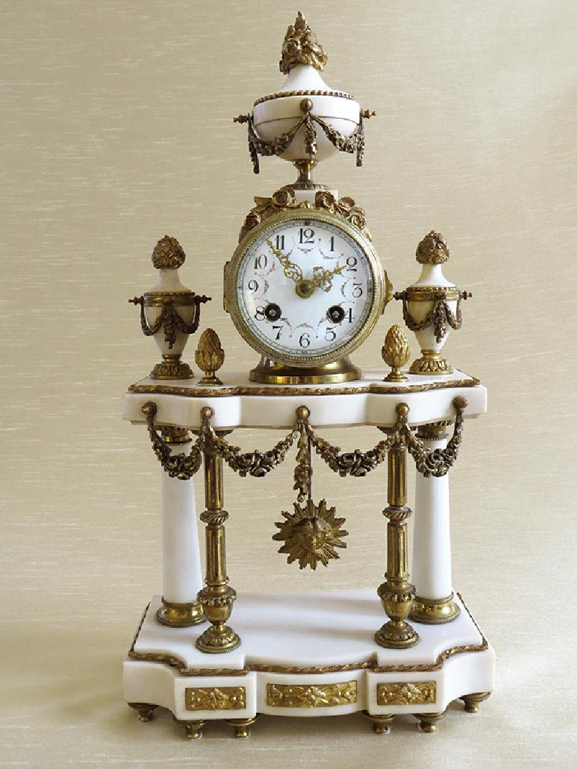 1870 Antique French Bronze & Marble 3pcs clock set - 3