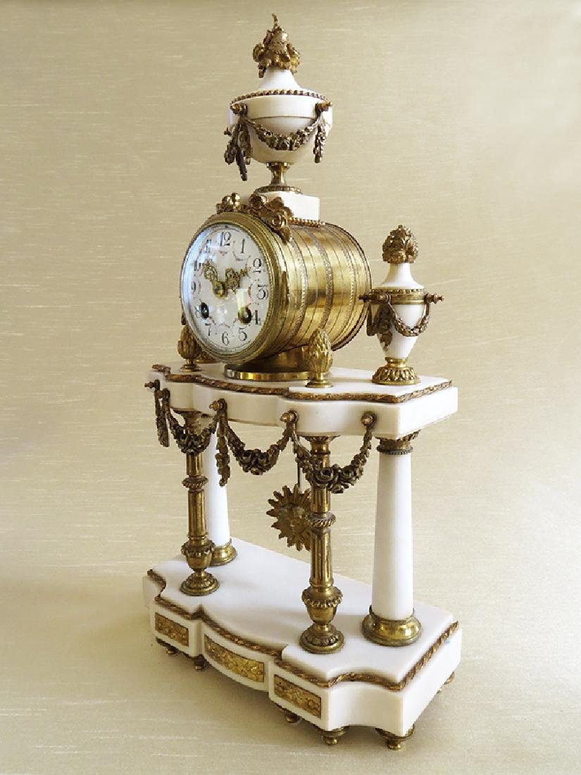 1870 Antique French Bronze & Marble 3pcs clock set - 4