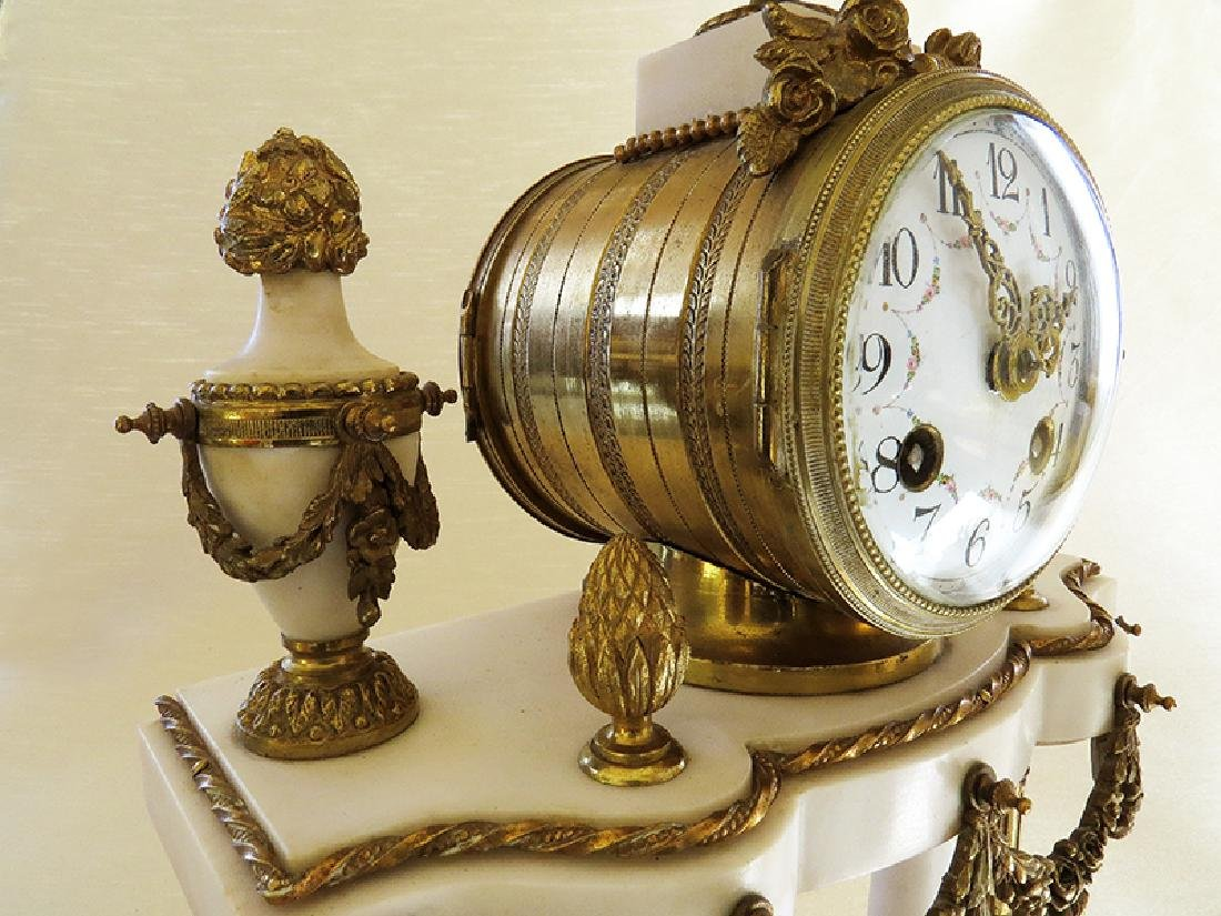 1870 Antique French Bronze & Marble 3pcs clock set - 7