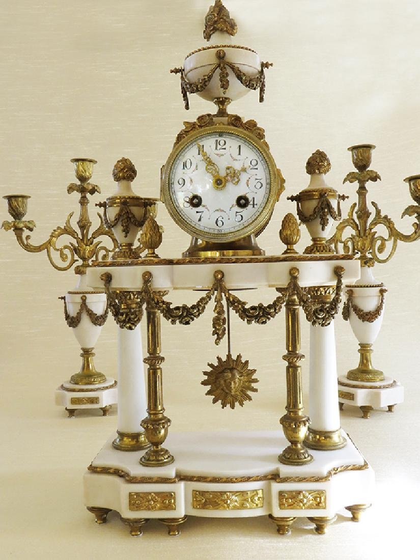 1870 Antique French Bronze & Marble 3pcs clock set - 8