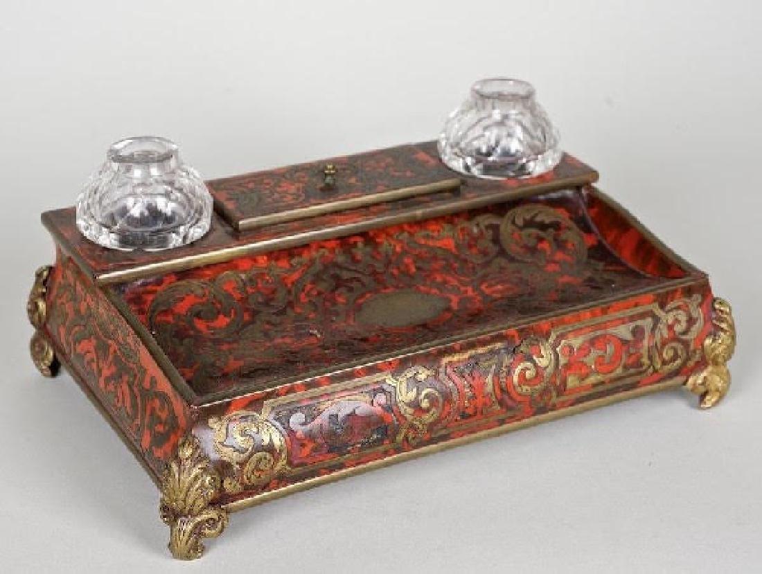 Napoleon III tortoiseshell brass boulle-work encrier
