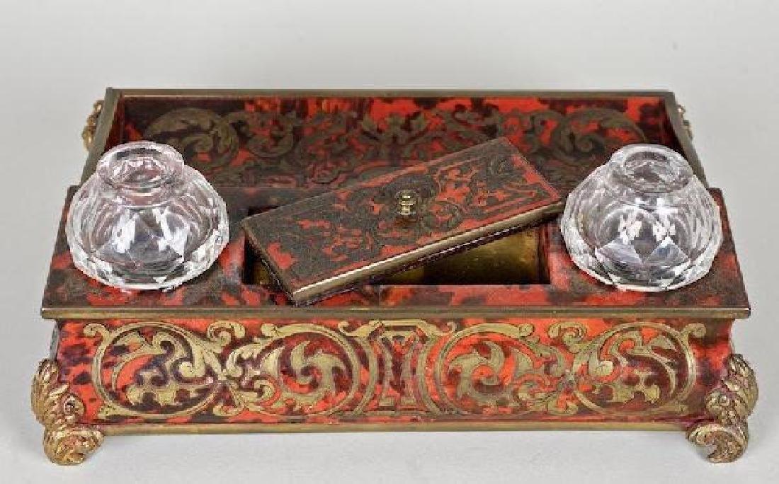 Napoleon III tortoiseshell brass boulle-work encrier - 2