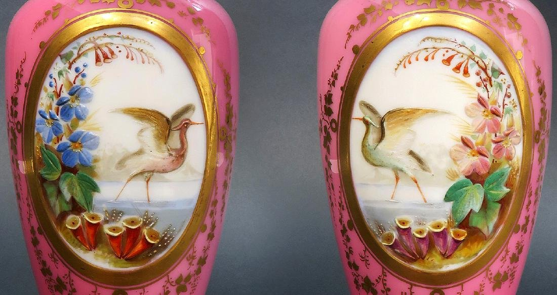 19th C. Pair of French Baccarat Opaline Vases - 2