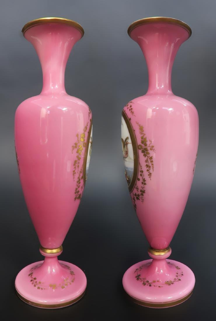 19th C. Pair of French Baccarat Opaline Vases - 3