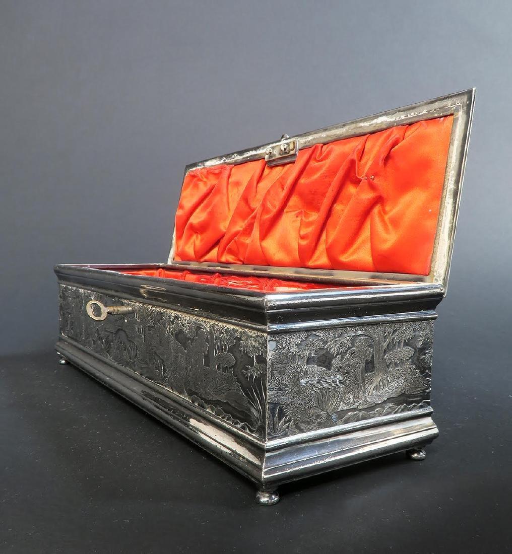 Fine 19th C. Silver-Plated Jewelry Box - 3