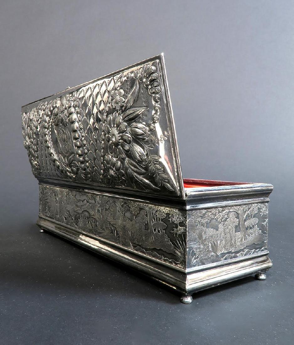 Fine 19th C. Silver-Plated Jewelry Box - 4