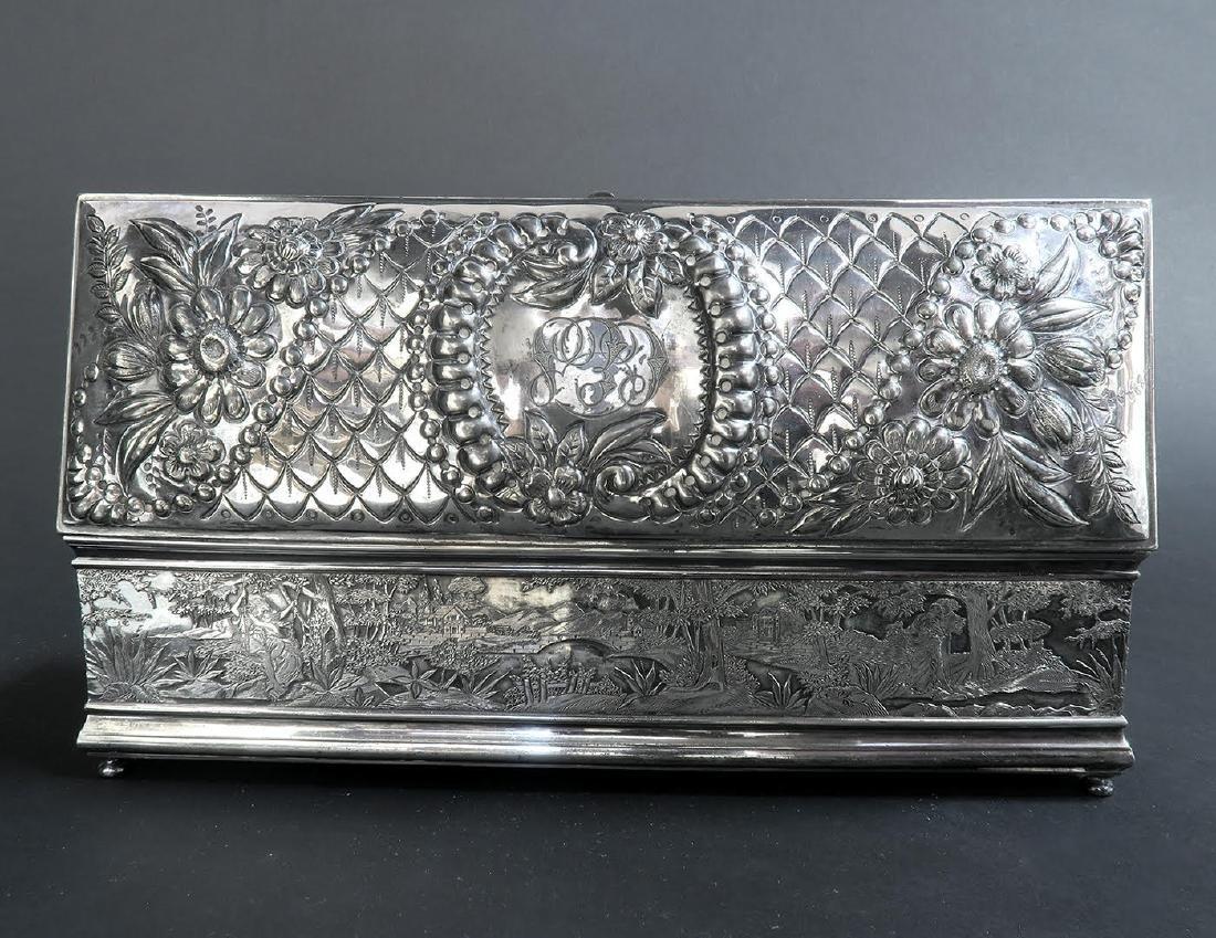 Fine 19th C. Silver-Plated Jewelry Box - 5