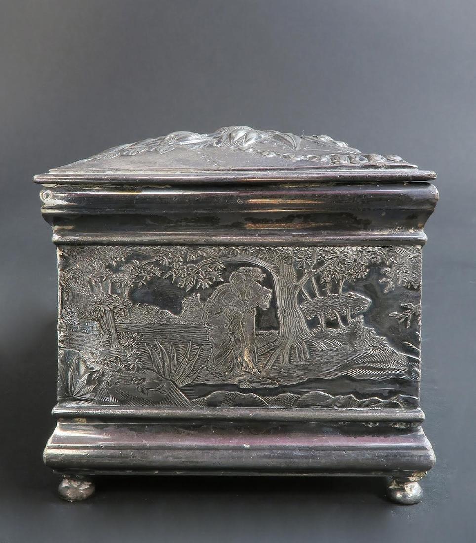 Fine 19th C. Silver-Plated Jewelry Box - 6