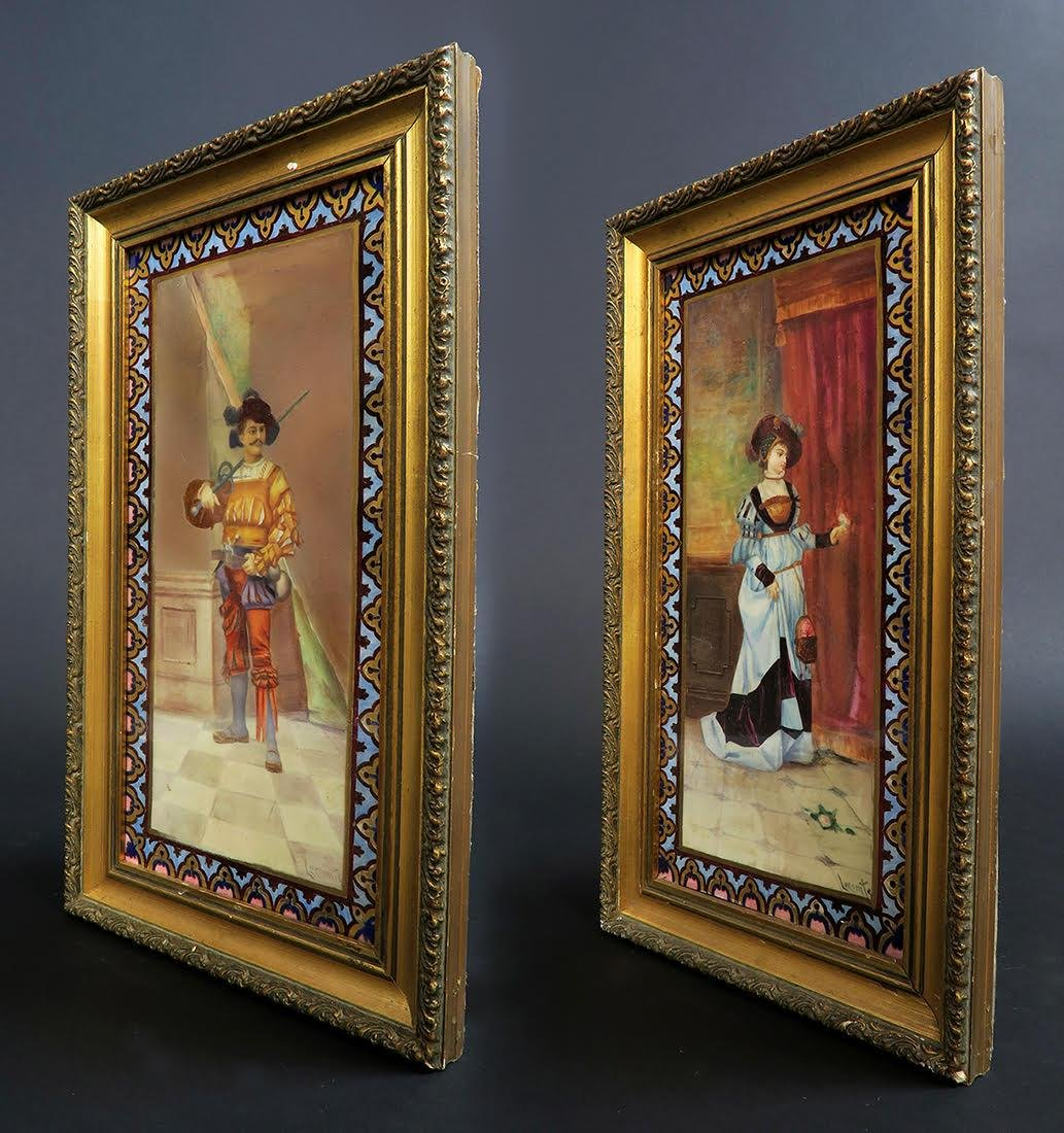 Pair of French Porcelain Plaques Signed Leconte - 2