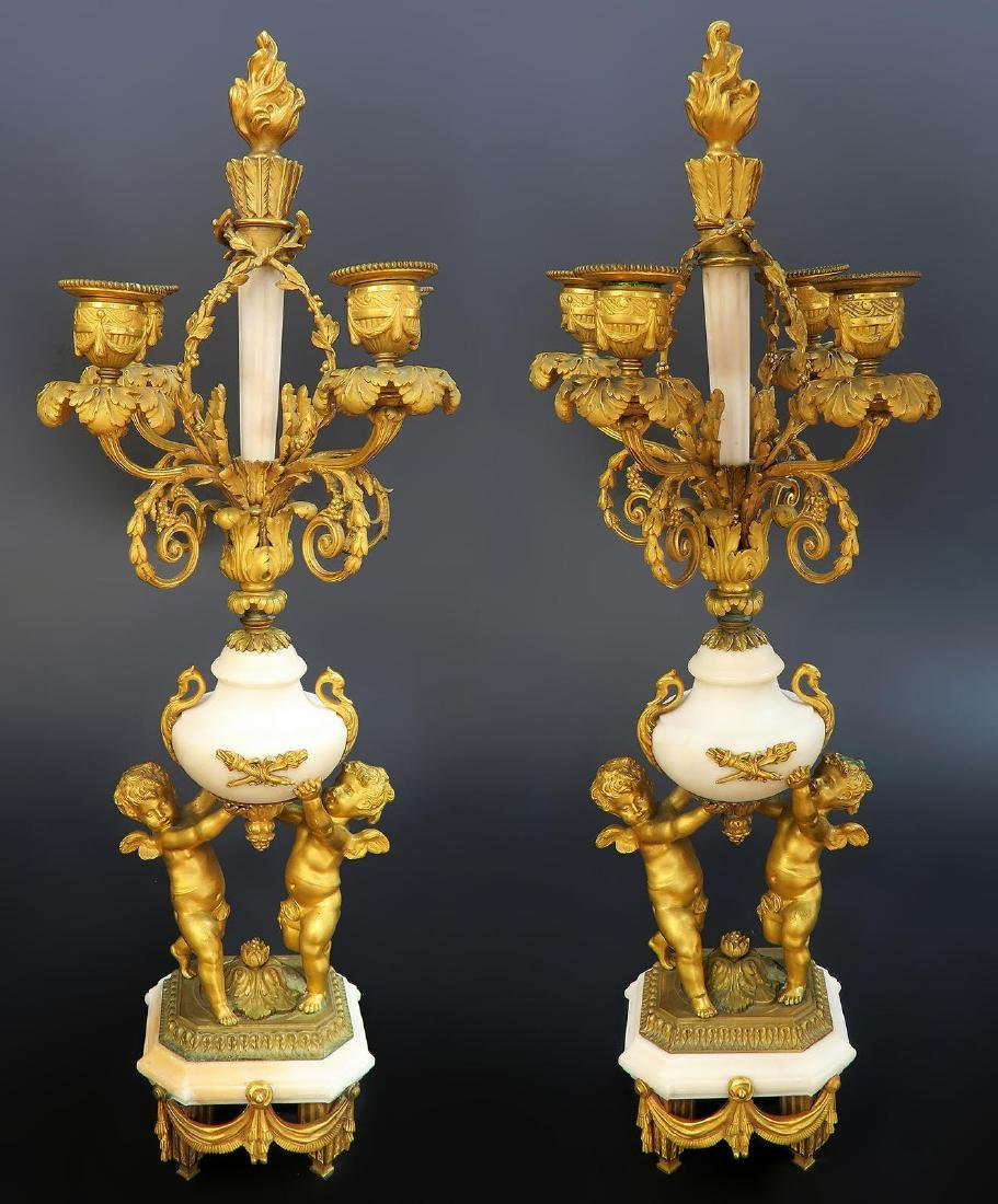 French Marble & Figural Bronze Clock Set - 2