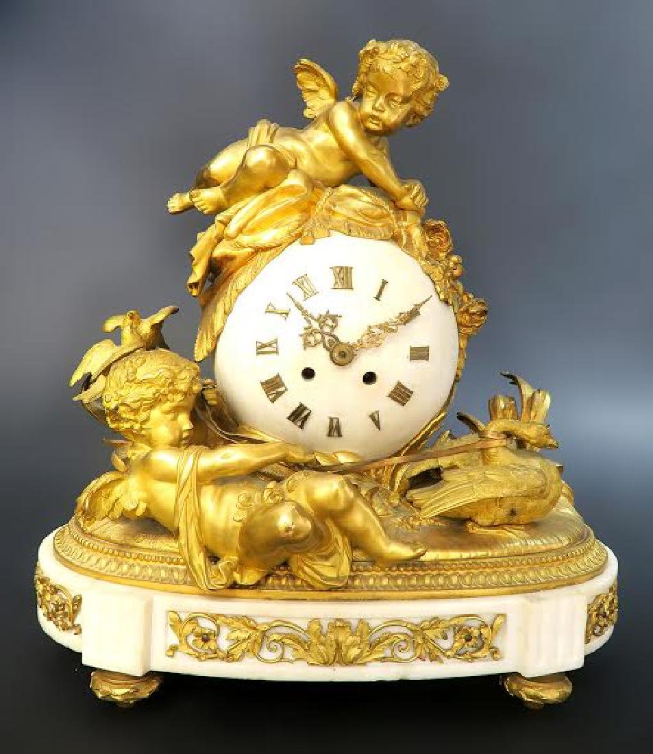 French Marble & Figural Bronze Clock Set - 3