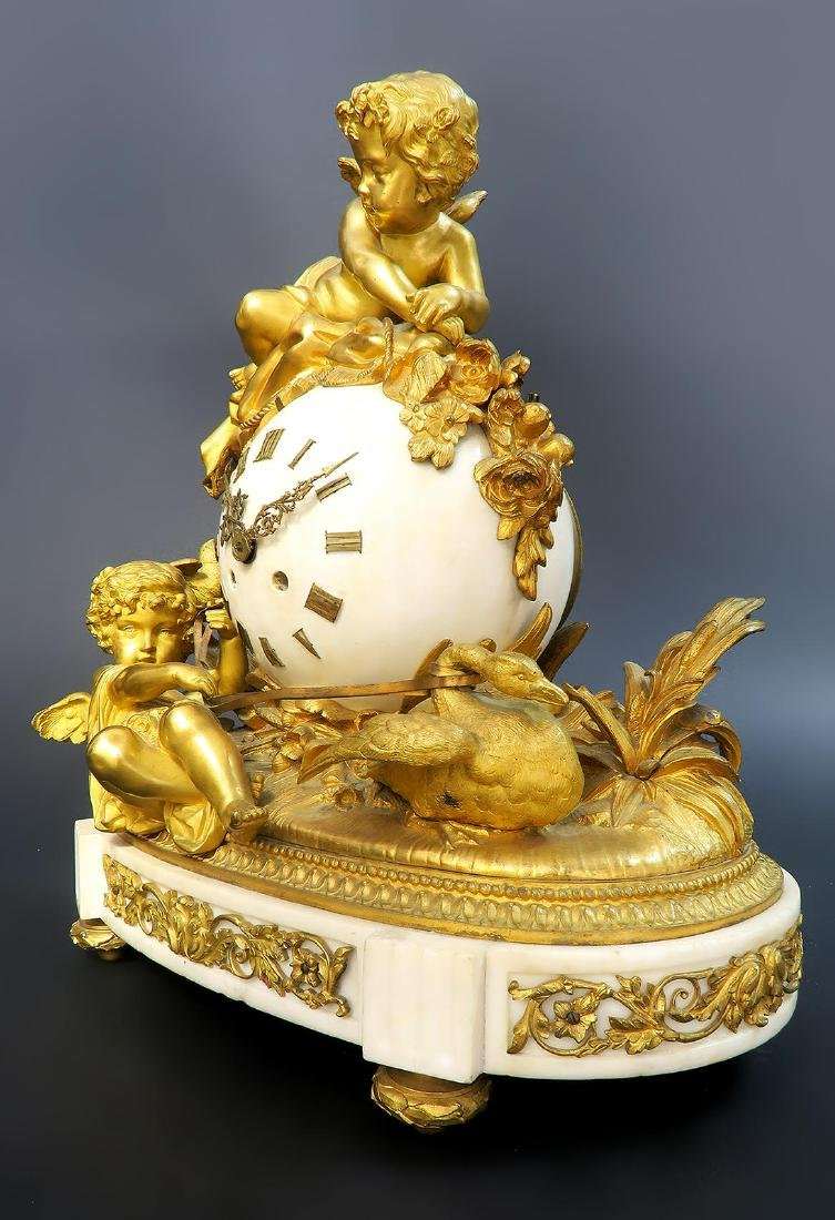 French Marble & Figural Bronze Clock Set - 4