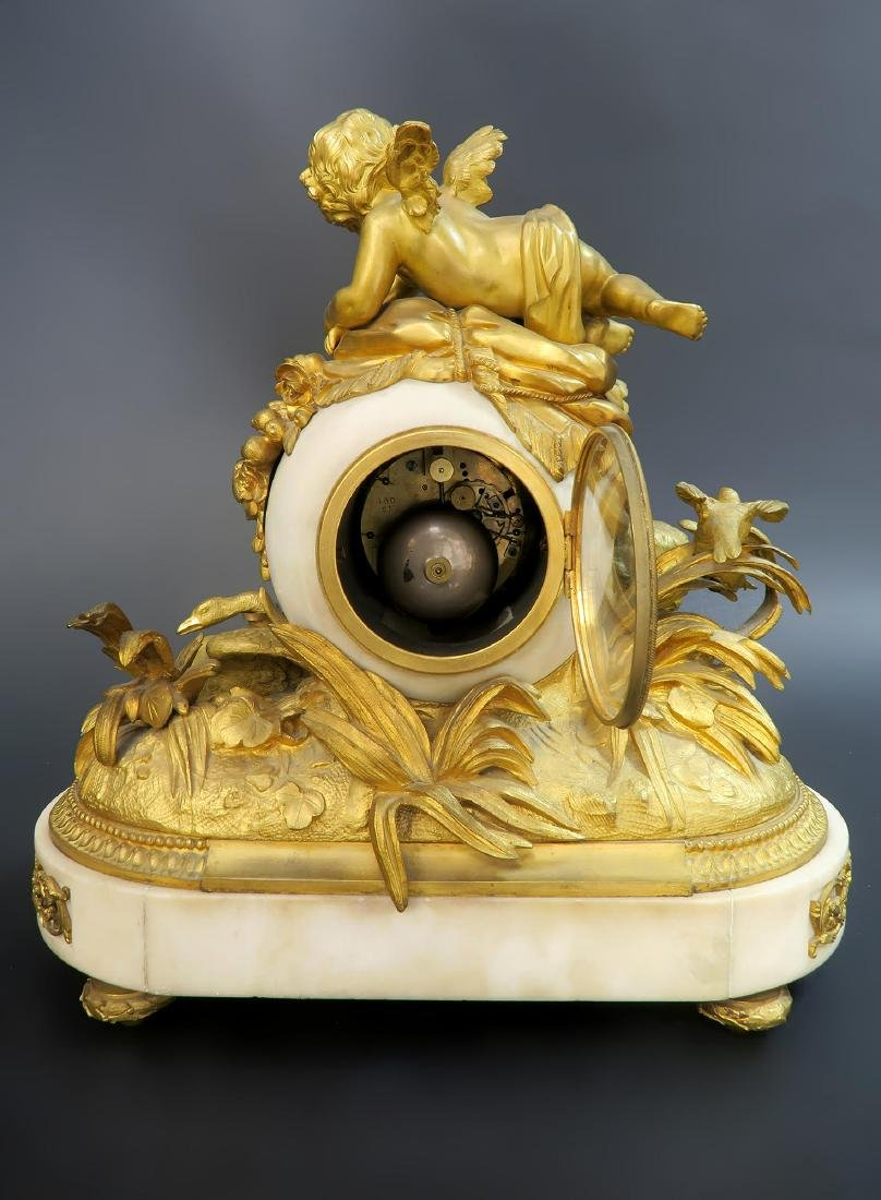 French Marble & Figural Bronze Clock Set - 6