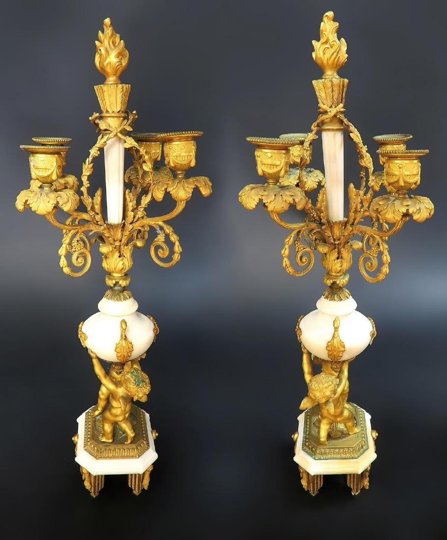 French Marble & Figural Bronze Clock Set - 8