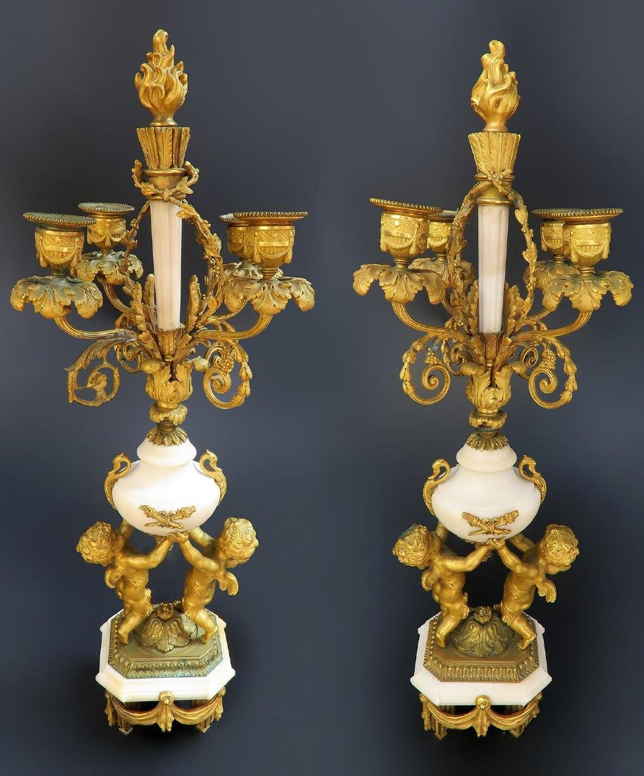 French Marble & Figural Bronze Clock Set - 9