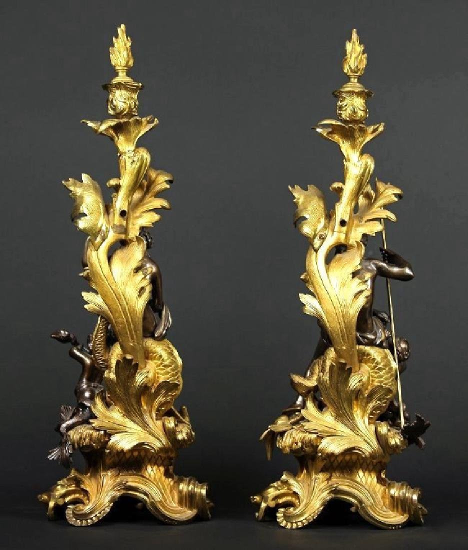 Pair of Gilt & Patinated Bronze Candle Sticks/ Chenets - 3