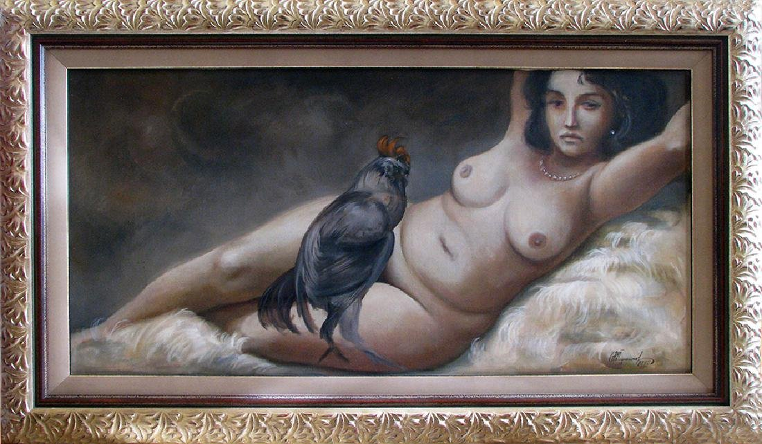 Reclined Lady with a Rooster Signed Valentin Podpomogov