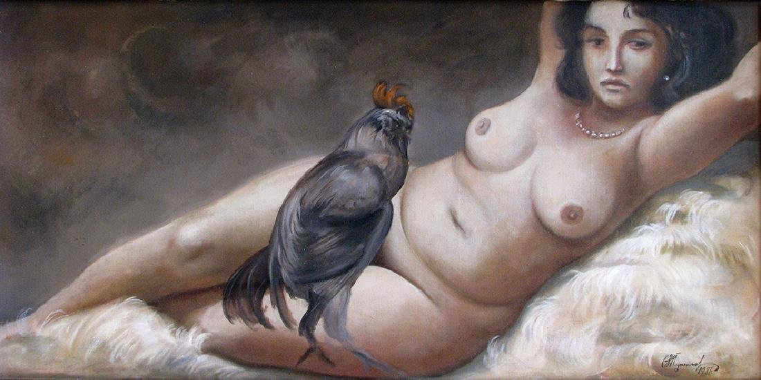 Reclined Lady with a Rooster Signed Valentin Podpomogov - 2