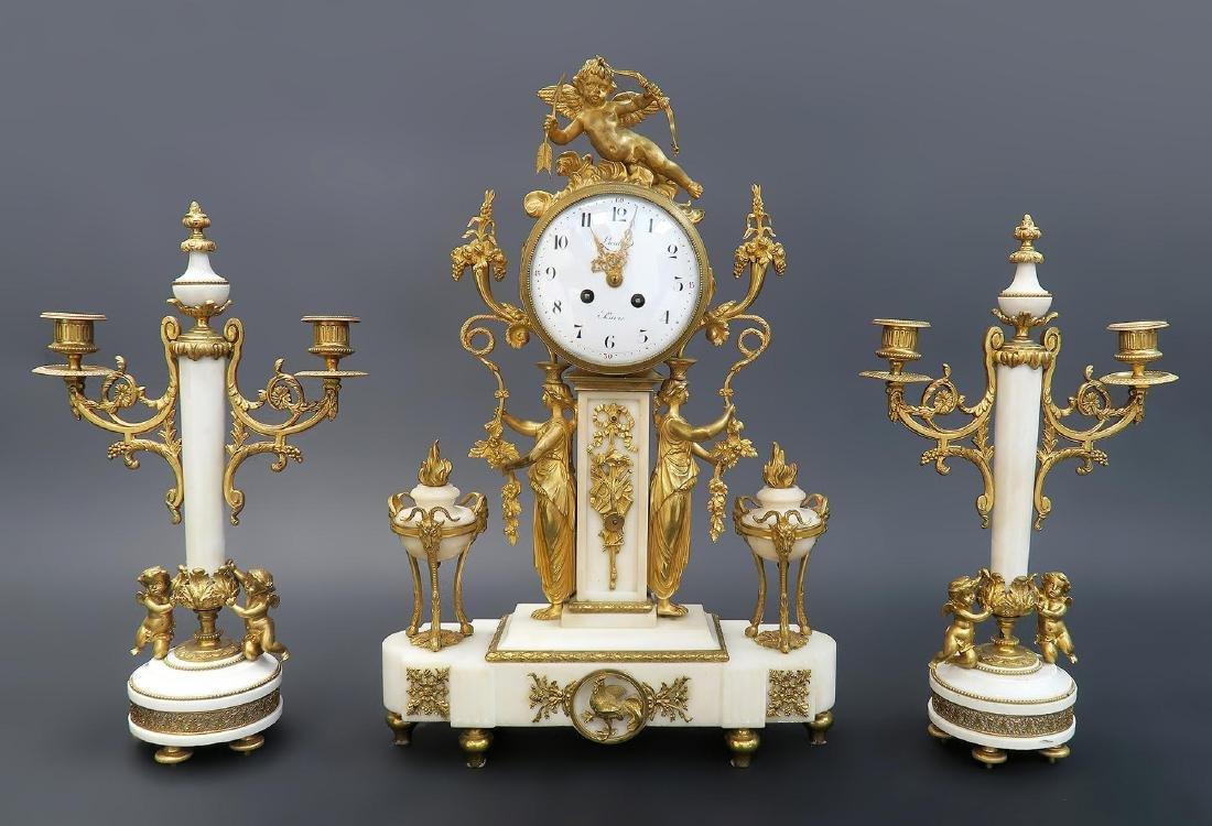 French Napoleon III ormolu mounted marble clock set